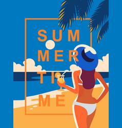 girl enjoying cocktail on beach vector image