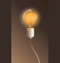 glowing transparent electric light bulb with lamp vector image