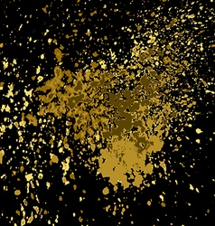 Gold paint splash splatter and blob shiny on black vector