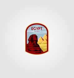 Great sphinx egypt giza logo with pyramid vector