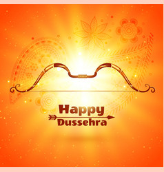 Happy dussehra festival card with glowing light vector