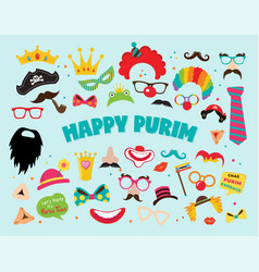 happy purim party set - photobooth props with vector image