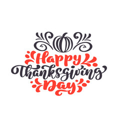 Happy thanksgiving calligraphy text pumpkin vector