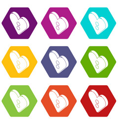 Heart clothes button icons set 9 vector