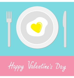 Heart-shaped fried egg happy valentines day vector