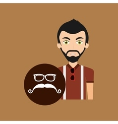 hipster style character mustaches and eyeglasses vector image
