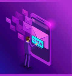 Isometric business men look email inbox electronic vector