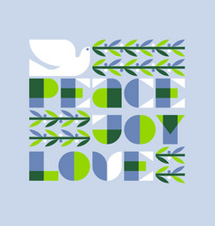 Joy love peace and christmas dove vector