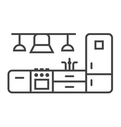 kitchen furniture line icon and interior vector image vector image