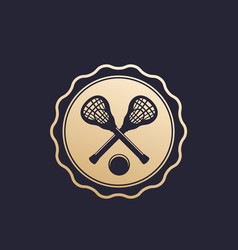 Lacrosse badge emblem with sticks and ball vector