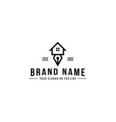Logo design pen and house vector