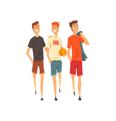 male friends spending time together men play vector image