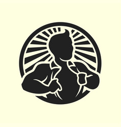 man opening his shirt silhouette icon vector image