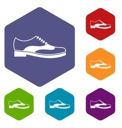 Men shoe with lace icons set vector