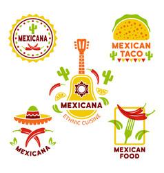 Mexican food colored logos templates vector