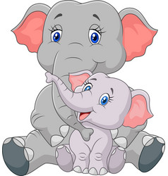 Mom and baby elephant sitting on white background vector
