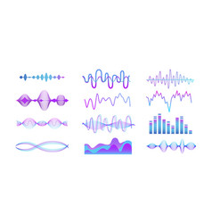 music sound equalizer set - blue and purple vector image