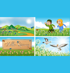 Nature scene backgrounds with children and birds vector