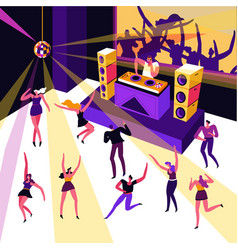 Night club dance party dj in headphones and vector