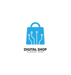 Online shop logo design template vector