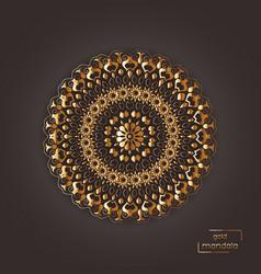 Ornamental gold flower oriental mandala on brown vector