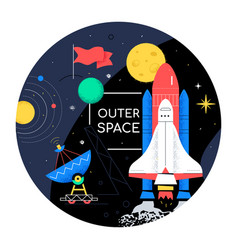 outer space - colorful flat design style web vector image