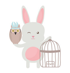 Owl bird with rabbit and cage bohemian style vector