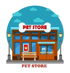 Pet store and shop for animal care building vector image