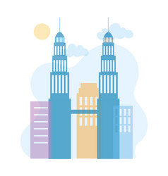 Petronas twin towers skyline architecture urban vector
