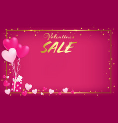 pink board with gold border and valentines day vector image
