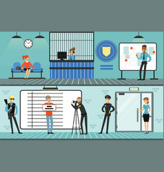 police department interior with receptionist vector image