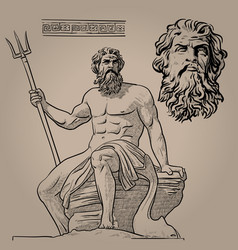 Poseidon god of the sea earthquakes soil vector