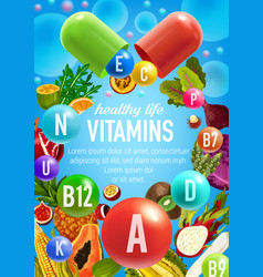 Poster of vegetables and fruits vitamins vector