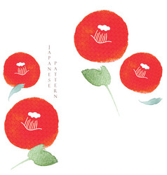 red camellia flower template with japanese wave vector image