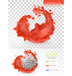 red paint splash with transparency 3d realism vector image