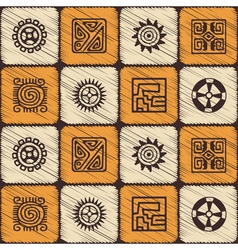 Seamless pattern with American Indians art vector image