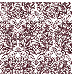 seamless pattern with hand drawn henna mehndi vector image