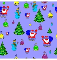 seamless pattern with many cute Christmas pattern vector image