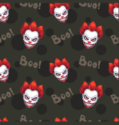 seamless pattern with scary evil clown faces vector image