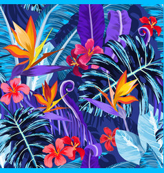 Seamless pattern with tropical flowers and plants vector