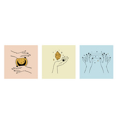 Set cards womens hands holding planet moon vector