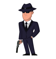 spy in a hat and with a gun vector image
