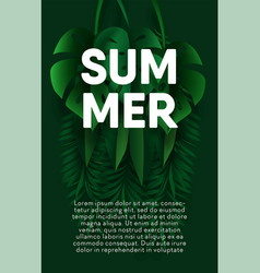 summer vertical banner with exotic palm leaves and vector image