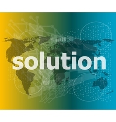 The word solution on digital screen business vector image