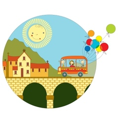 Travel by bus to the town vector image