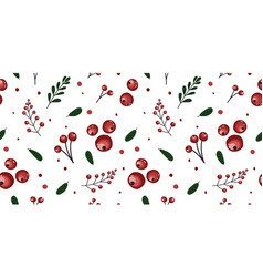 Trendy berry pattern with lingonberries red ripe vector