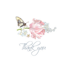 Tulip butterfly thank you card vector