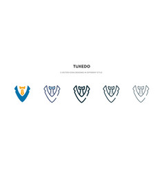 Tuxedo icon in different style two colored and vector