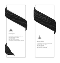 Two elegant vertical white banner with black silk vector