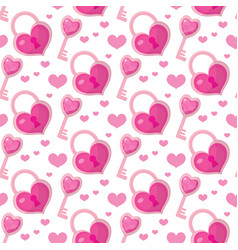 valentines day seamless pattern heart key and vector image